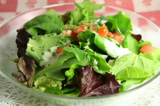 Mesclun Greens with Creamy Blue Cheese dressing