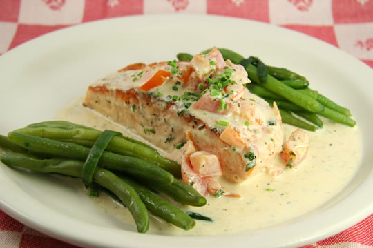 Black Pearl Salmon With Tomato Herbed Cream The Watch